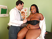Ebony plumper gets a white cock